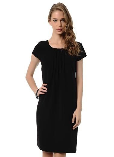 Asymmetry Kısa Kollu Düz Elbise Siyah